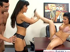 These two brunette milfs seduced the strongest hunk and they had hardcore threesome session in the office itself. The session started with these busty milfs offering blowjob to his mighty cock and the guy took turns to fuck each of them.