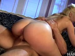 Horny blonde ass fucking German slut takes on two big fat cocks up her ass and in her wet pussy at the same time.