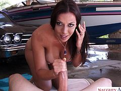 Rachel Starr loves teasing her husband, by washing his car nude, while playing with her big tits. The lucky guy gets to watch this amazing busty housewife wiggle her round butt, getting all wet and horny. She then proceeds to reward his patience with an amazing blowjob. He sure is lucky!