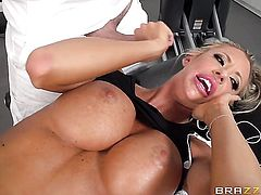 Keiran Lee uses his rock hard cock to bring blowjob addict Blonde Courtney Taylor with huge melons to the edge of nirvana