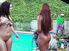 Brunette chachita with giant melons and bald muff howls in lesbian sexual ecstasy with Claudia Bavel