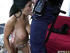 Romi Rain with gigantic hooters shows her cock sucking talents in oral action with Jean Val Jean