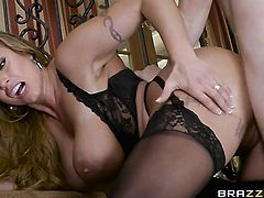 Blonde chachita with gigantic boobs bounces on dick