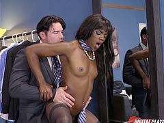Shop assistant Ana Foxxx is fucked hard by brutal rich dude
