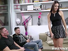 "New Cummer Carolina Abril stars in Private's raunchy ""Sexting Babes! "" This Spanish sensation makes two studs forget about the football with a hot solo session! She gets her men hard with a double blowjob and then bends over to have her pussy pounded, still deep throating the other's cock."