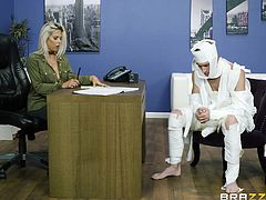 Rachel is a boss that expects a lot from her employees, when they don't live up to expectations, she will humiliate them and fuck them hard. This worker comes into the office covered in paper and he is made to pleasure the boss. If he can keep his cock hard and eat her out to her satisfaction, maybe, he will get a raise.