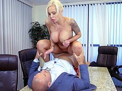 Visit official Brazzers Network's HomepageNice day for a good shag with the boss for busty Nina Elle as she wants a raise but also the guy's heavy inches to bang her shaved twat in proper modes