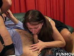 Hot German grannies enjoy a fantastic foursome sex action. Sexy gals love pussy drilling action with a dildo, but what they love the most is being fucked by a hard cock as they are giving blowjobs.