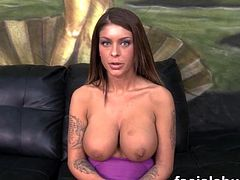 Pornstar Brook Ultra chokes hard on cock at face fucking then does anal