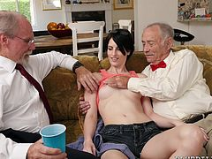Skinny babe Alex has had enough of men her age. She wants to fuck an old geezer, or many even two of them. She shows off her panties and hot body to these old men and their boners kick in. Good thing they took their pills, because now they can fuck her long and hard.