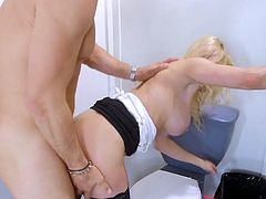 Busty blonde premium gloryhole porn play at work