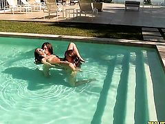 Brunette Riley Reid shows off her hot body while getting tongue fucked by lesbian Maddy Oreilly