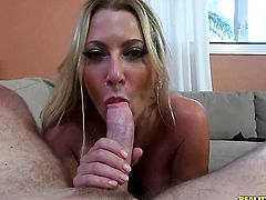 Blonde Jennifer Best with huge melons and bald beaver is on the edge of nirvana with Levi Cashs erect snake in her mouth