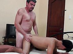 Filipino twink anal doggystyled by dad