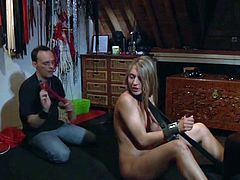 A slave is punished in a hardcore bdsm porn video by her master she blows master's cock swallows his sperm and gets kinky pussy fucked. The teen slave can barely hold from the submissive treatment but she loves being a dirty cum eating slut