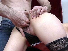 The theif came here to rob money, but he changed his intentions after seeing the busty milf. He closed her mouth with one hand and used the other to finger her pussy. She woke up, shocked after seeing his big dick and started sucking it voluntarily.