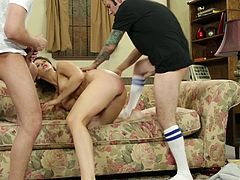 Elegant Chanel Preston lets the guys screw her with their peckers