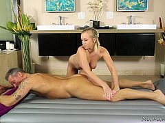 Masseuse Bailey Brooke is a professional and she never crosses her limits. But today, she became so horny in the shower and started sucking my cock, without even asking. I must say, she is really good at oral and I really enjoyed her sensual blowjob. Later, she resumed the massage session.