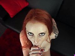 POV style blow job and fuck fest with sexy redhead Alexa Red fearsome-threatening PornDoe