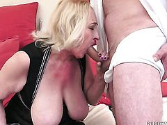 Mature with massive hooters is good at fuck stick sucking and loves it