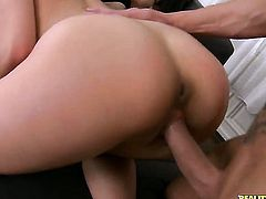 Sabby gets his always hard tool eaten by Brunette Valentina Nappi before backdoor sex