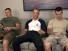 These men have got to be three of the sexiest studs you have ever seen in your life. They are all in the army and they all have giant cock. Watch as they stroke off side by side and suck cock in a row. Which hunk will cream first?