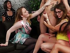 Cockhungry cfnm hotties stroking off stripper
