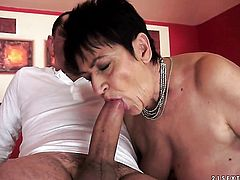 Brunette and hot blooded guy have oral sex for camera for you to watch and enjoy