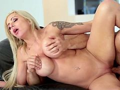 Visit official Paper Street Network's HomepageBlonde milf works hard on man's dick by sucking it and licking it in sloppy modes before getting it to smash down her greedy pussy in rough scenes of sex