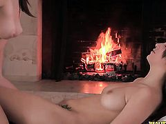 Brunette shows off her sexy body as she gets her love tunnel rubbed by lesbian Malena Morgan