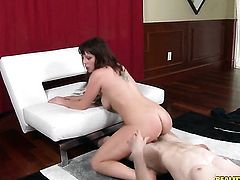 Redhead is curious about oral sex with hard dicked dude