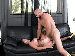 Tattooed chachita Katallina with big tits and smooth beaver needs nothing but her mans hard boner in her mouth to be satisfied