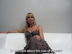 This cute girl was desperate to become an actress and she was ready to do all the dirty stuff, to please the agent. She undressed herself and masturbated. She even sucked his big dick and rubbed it all over her face. But he did not feel satisfied, until he shoved his cock in her tight asshole from behind.