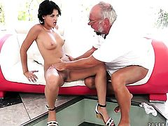 Fuck crazed harlot gets down and dirty in cum flying sex action