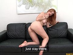 If her blowjob skills are top notch then maybe James will get her a part in the biggest European porn movie of the year. She spits on his cock to get him nice and lubed up, while she gave him a handy. She will ride him until he cums.
