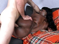 Piercings chocolate with bubbly ass and clean pussy is skilled enough to make dude cum again and aga