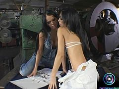 Gorgeous lesbians Christina Bella and Mya Diamond are out of options on places and took their raunchy stuff at the nearby vacant lot and started out kissing each other passionately and groping and licking each others titties before getting their pants unzipped fondling their pussy through their panties.