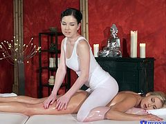 One can enjoy several extra services in this spa and Daphne Angel was really happy for choosing this. The naughty masseuse poured oil, massaged her soft yet tender body and started fingering. The horny client responded with deep passionate kiss and the massage session ended with lesbian encounter.