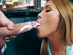 Visit official Brazzers Network's HomepageBusty Asian wife, Kianna Dior, screams and shakes like a real whore while her white man fucking her pussy big time on the kitchen table