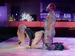 He spotted this sexy babe from across the dance floor, so he asked her to come up to his room and get fucked hard. The lights glistened over her stunning body and sexy curves. Her round ass was so hot as she bent over and took it hard from behind.