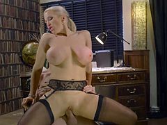 Visit official Brazzers Network's HomepageCougar blonde with huge tits spins cock in each of her holes while also stimulating it with titjob and handjob, all until the last drop of sperm down her hard nipps