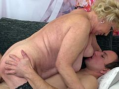 Even old fat ladies need sex every once in a while and thankfully there are men out there, like this pervert, who loves to eat her old hairy snatch. The mature woman rides him and takes his cock deep in her vagina. She hasn't fucked like this in 30 years.
