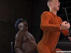 Handsome 3D cartoon prisoner sucks cock before getting his tight ass fucked and cummed on by a fat ebony cop