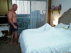 Naughty ebony babe Kendall Woods may be young but she knows how to please her man. Striding into the room, wearing only sexy white panties, she kneels between a horny bald white guy's legs, to give him a blowjob he won't forget. Spreading her legs, she straddles him to ride his hard, throbbing cock.