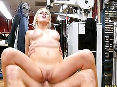 Blonde sexy Ana Marie with massive hooters and clean twat shows her love for meat pole sucking to Levi Cash