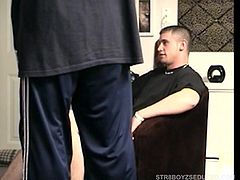 After getting settled, Marshall finds a straight porn video for some inspiration, as Vinnie lubes his growing cock. Vinnie starts deep throating him and Marshall loves the feeling, as Vinnie brings him close to climax. Marshall finally shoots his warm cum load on Vinnie, who quickly swallows it down.