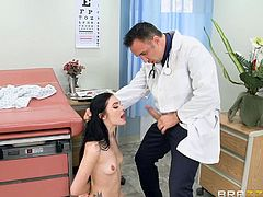 The doctor is trying to be as professional as possible, but when Marley spread her legs and showed him her tight hairy pussy, he has lost his mind. She makes the situation worse, by kneeling down and showing him how good she is at sucking, chocking, as he lets him push her head down against his cock