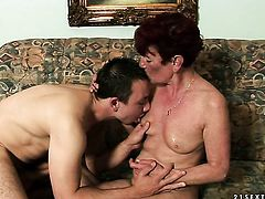 Redhead gets mouth pounded by hot dude