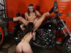 Visit official Twistys Network's HomepageCeleste Star is about to go naughty on Georgia Jones during a very hot and full of passion lesbian xxx play. All takes place in a garage full of motorcycles