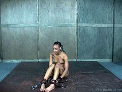 skinny ebony babe is tied and punished in bdsm session